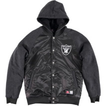 Majestic Brisk Hooded Mix Fabric Jacket – Oakland Raiders