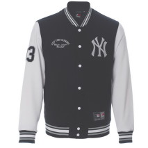 Majestic Rena Hooded Fleece Letterman Jacket